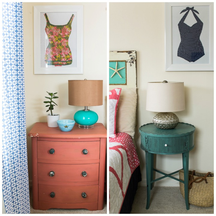 beach cottage bedside tables + vintage swimsuit art