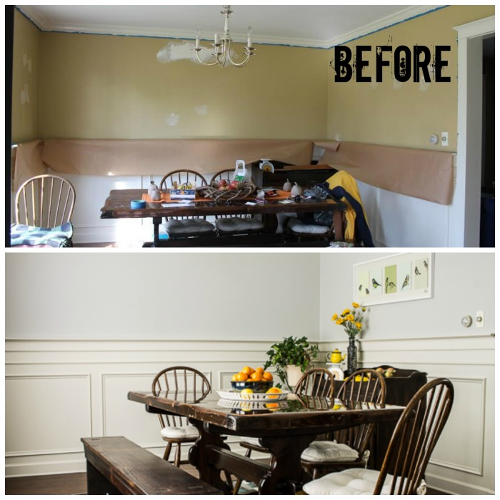 Updated Gray Dining Room Before & After