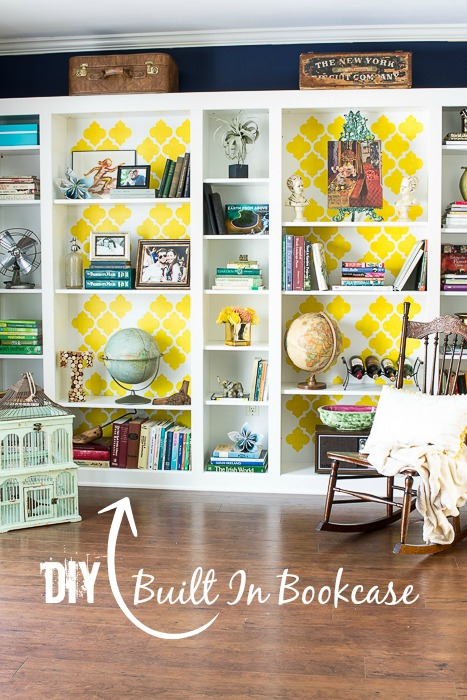 DIY Built In Bookcase Library - Ikea Hack