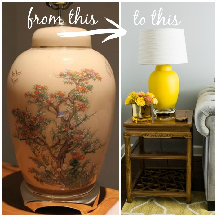 DIY ginger jar lamp before & after
