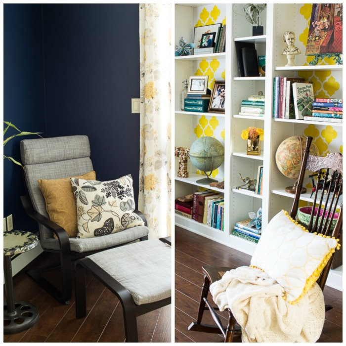 Navy & Yellow Home Library