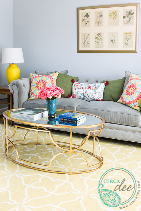 Organic Modern Living Room - yellow, navy, gray chesterfield, vintage botanicals
