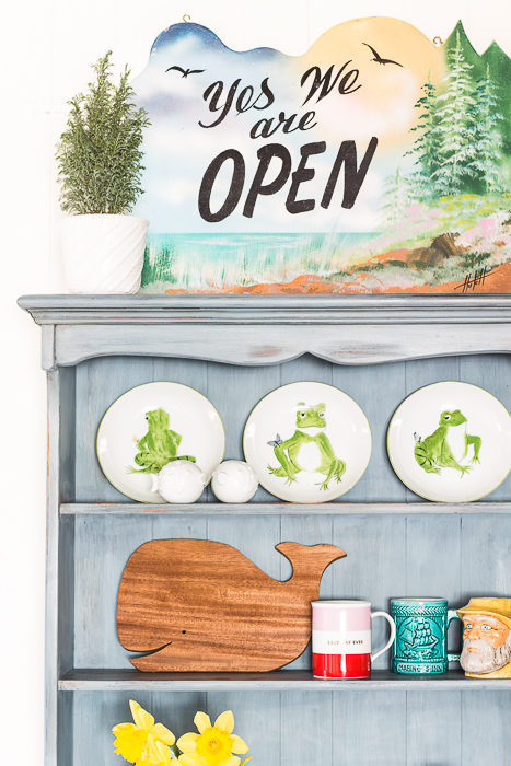 Milk Paint Hutch - vintage OPEN sign