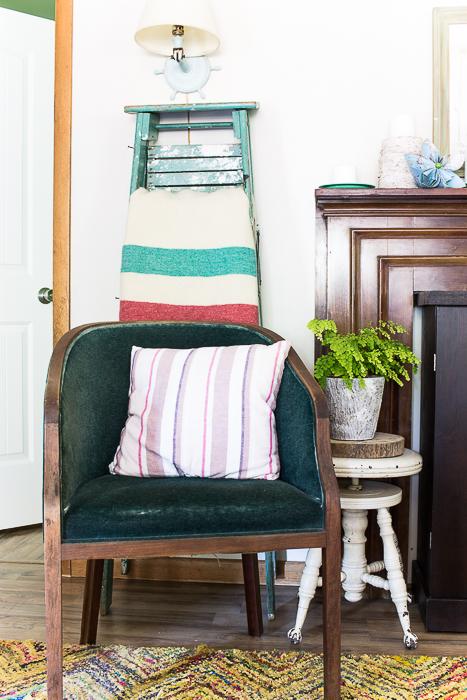 vintage mohair chair ladder blanket rack living room-527